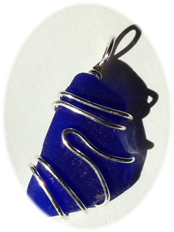prince Edward Island Blue Sea Glass Pendant, wrapped in 18 gauge Sterling Silver.
