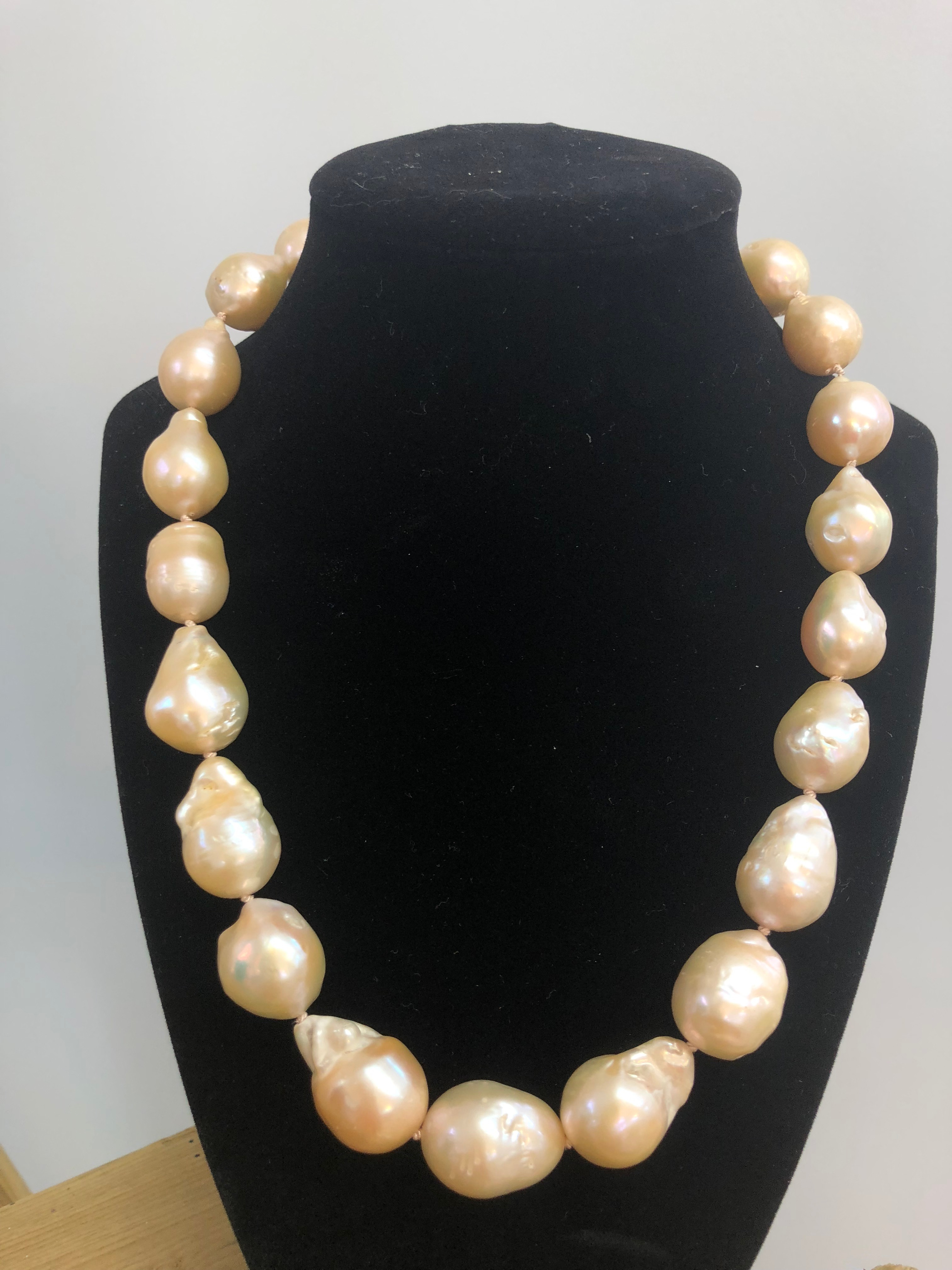 Freshwater Baroque Pink Pearls w/Vintage Sterling Silver Clasp Necklace