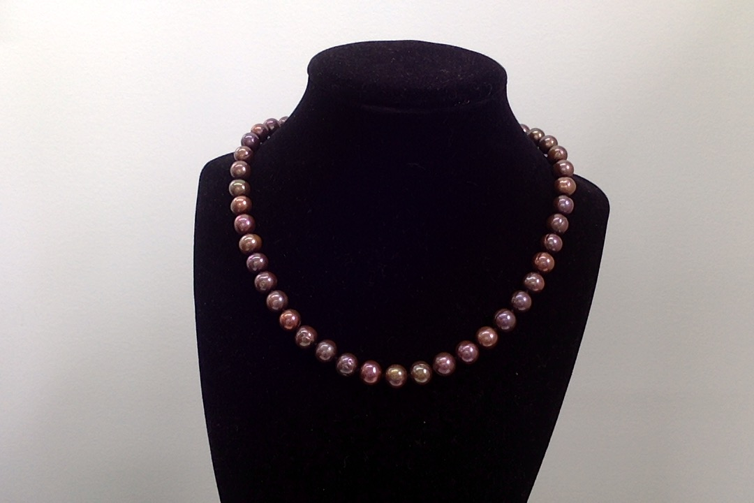 Necklace, Freshwater Brown 8mm Pearls finished w/14KGF Clasp.
