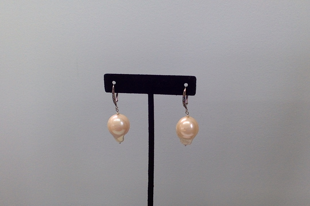 Earrings, Freshwater Pink Baroque Pearls  w/Marchasite & Sterling Silver.