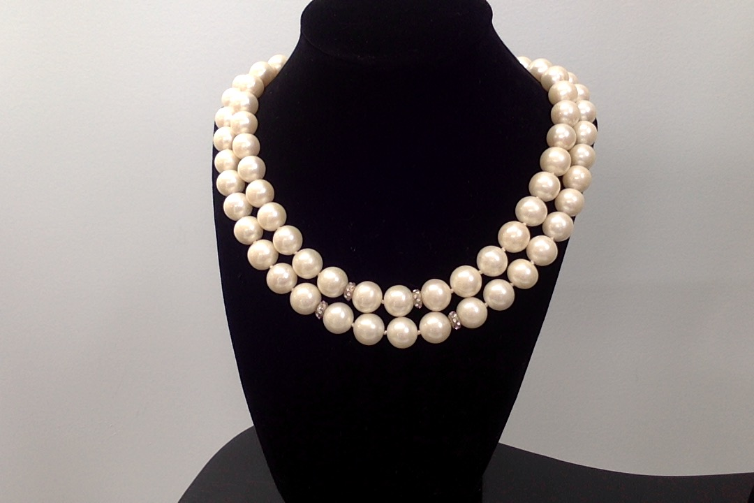 12mm White Freshwater Pearls w/s.s., cz spacers, Double Strand Necklace