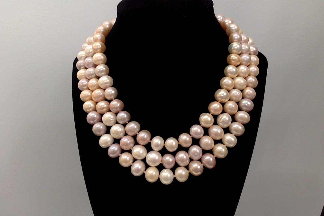 8mm pink freshwater pearls, triple strand necklace